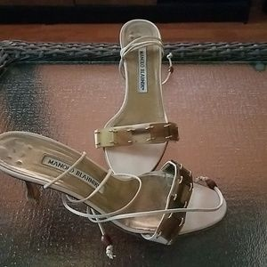Manolo Blahnik cream heels with beads and straps